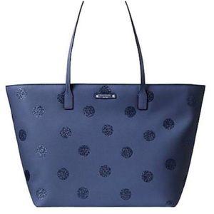 Kate Spade Hani tote in blue w glittery polka dots